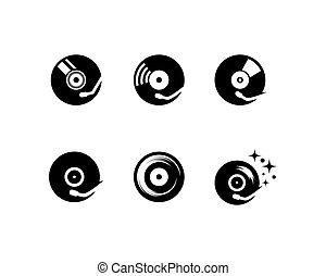 disco, musica, vinile, icona
