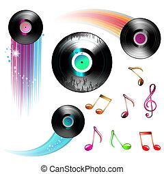 disco, note, musica, vinile