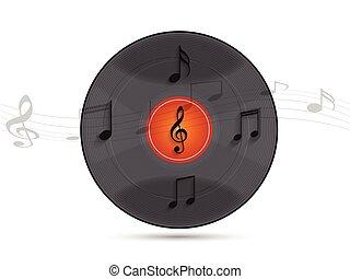 disco, note, musicale, vinile