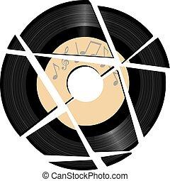 disco, rotto, musica, vinile, etichetta