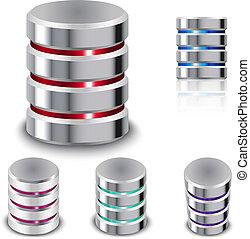 disco, set, duro, icona, database