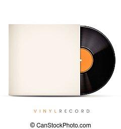 disco, vinile, busta, vuoto, 3d