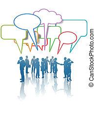 discorso, affari persone, rete, comunicazione, media, colori