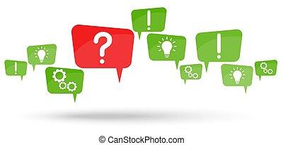 discorso, bolle, domanda, rosso, marchio