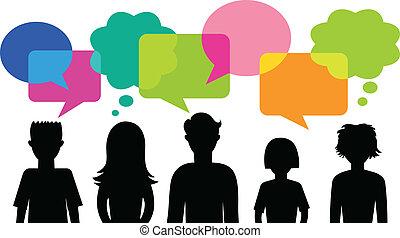 discorso, bolle, silhouette, giovani persone