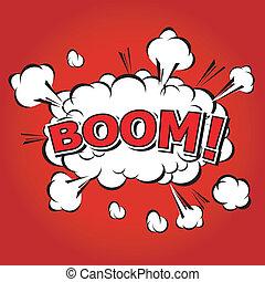 discorso, comico, bolla, boom!