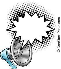 discorso, megafono, bolla, bullhorn