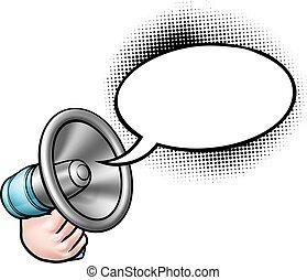 discorso, megafono, bolla, cartone animato