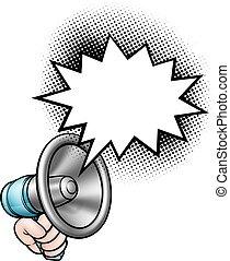 discorso, megafono, bolla, tenendo mano