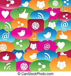 discorso, rete, sociale, bolle