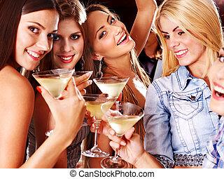 discoteca, donna, club., notte