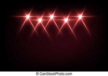 discoteca, palcoscenico, riflettore, vettore, festa, intrattenimento, fondo., o, astratto, effetto, illustration., raggi, brillante rosso, evento, festival, proiettori, luce, nero