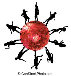 discoteca, silhouette, palla, persone, ballo
