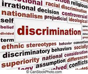 discriminazione, concetto, emettere, sociale