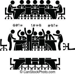 discussione, riunione, affari, icona