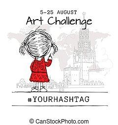 disegnare, mosca, disegno, ragazza, città, arte, manifesto, sfida