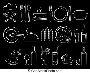 disegnare, set, icone, cibo, ristorante, mano, gesso