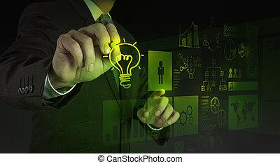 disegnare, uomo affari, lightbulb, interfaccia, computer, mano, nuovo