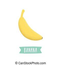 disegnato, banana, isolato, white., mano