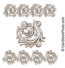 disegnato, barocco, elementi, mano