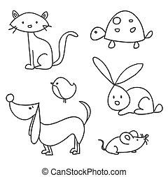 disegnato, cartone animato, animali domestici, mano