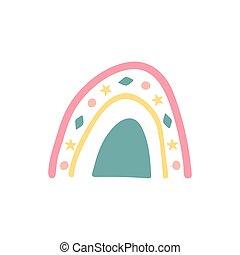 disegnato, cartone animato, unico, apparel., bambino, arcobaleno, mano, icon., rainbow., tessuto, vivaio, illustrazione, carta da parati, carino, bello, sticker., vettore, doccia, involucro, bambini