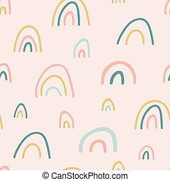 disegnato, cartone animato, unico, apparel., pastello, bambino, arcobaleno, mano, arcobaleni, tessuto, vivaio, illustrazione, carta da parati, pattern., fondo, carino, seamless, shower., bello, capretto, vettore, colors., texture.