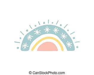 disegnato, cartone animato, unico, apparel., pastello, color., bambino, arcobaleno, icona, mano, rainbow., tessuto, vivaio, illustrazione, carta da parati, carino, bello, sticker., vettore, snowflakes., doccia, involucro, bambini