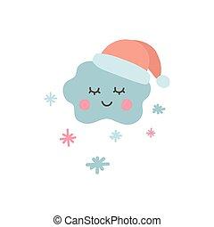 disegnato, cartone animato, unico, apparel., pastello, color., bambino, nuvola, icona, etichetta, mano, santa, vivaio, illustrazione, carino, bello, sticker., vettore, divertente, doccia, fiocchi neve, hat., involucro, bambini, cloud.