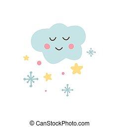disegnato, cartone animato, unico, apparel., pastello, color., stars., bambino, nuvola, icona, etichetta, mano, vivaio, illustrazione, carino, bello, sticker., capretto, vettore, divertente, doccia, fiocchi neve, involucro, cloud.