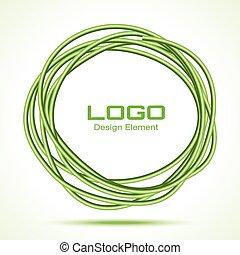 disegnato, cerchio, materiale, verde, mano