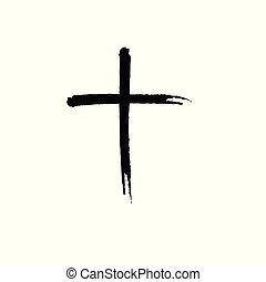 disegnato, cristiano, croce, mano