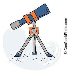 disegnato, immagine, telescopio, cartone animato, mano