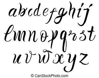 disegnato, mano, alfabeto