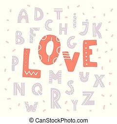 disegnato, mano, carino, amore, alfabeto