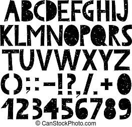 disegnato, mano, grunge, alfabeto