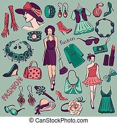 disegnato, moda, collezione, bellezza, mano
