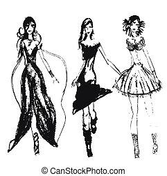 disegnato, moda, ragazze, mano