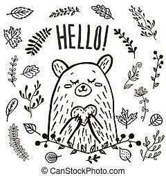 disegnato, orso, carino, mano