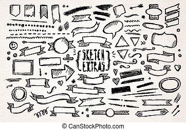 disegnato, schizzo, elementi, mano