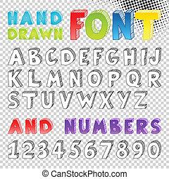 disegnato, schizzo, font, mano