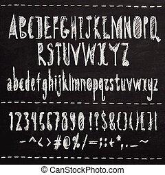 disegnato, schizzo, font., mano