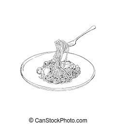 disegnato, schizzo, spaghetti, vector., mano