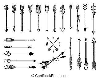 disegnato, set, frecce, mano