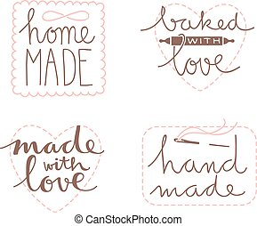 disegnato, set, mano, etichetta