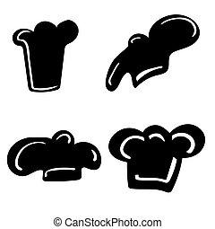 disegnato, set, minimo, mano, chef, stile, cappello nero