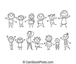 disegnato, vettore, mano, bambini