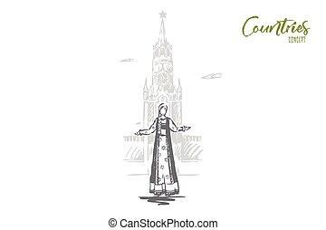 disegnato, viaggiare, mosca, cremlino, isolato, concept., russia, vector., mano, città