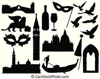 disegni, collection., venezia, silhouette