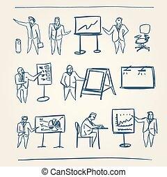 disegni, persone affari